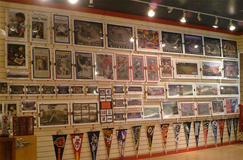 Wall display in a retail sports store