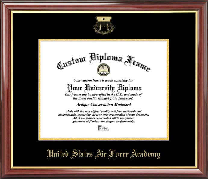 College - United States Air Force Academy Falcons - Embossed Seal - Mahogany Gold Trim - Diploma Frame