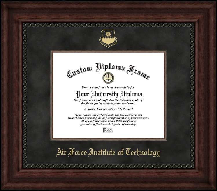 College - Air Force Institute of Technology  - Embossed Seal - Suede Mat - Mahogany - Diploma Frame