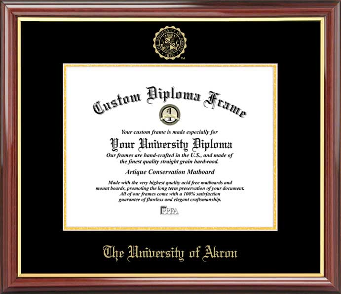 College - University of Akron Zips - Embossed Seal - Mahogany Gold Trim - Diploma Frame