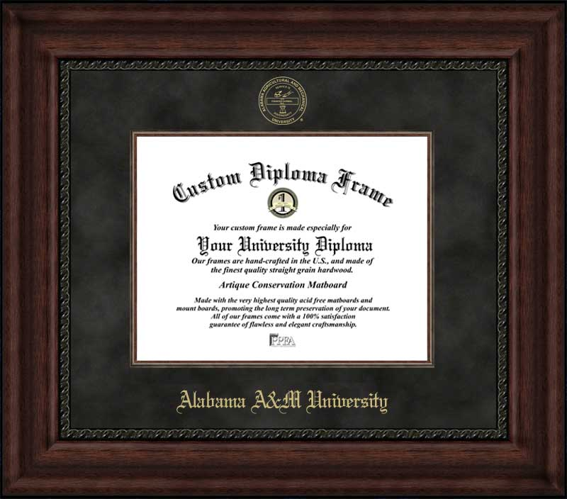 College - Alabama A&M University Bulldogs - Embossed Seal - Suede Mat - Mahogany - Diploma Frame