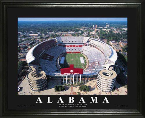 College - Alabama Crimson Tide - Bryant-Denny Stadium Aerial - Lg - Framed Picture