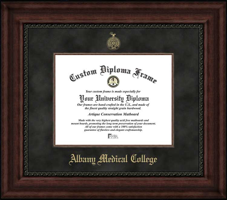 College - Albany Medical College  - Embossed Seal - Suede Mat - Mahogany - Diploma Frame