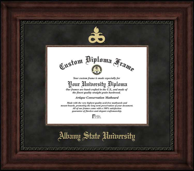 College - Albany State University (GA) Golden Rams - Embossed Logo - Suede Mat - Mahogany - Diploma Frame