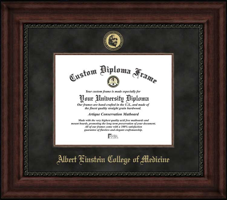 College - Albert Einstein College of Medicine  - Embossed Seal - Suede Mat - Mahogany - Diploma Frame