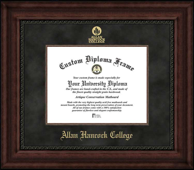 College - Allan Hancock College Bulldogs - Embossed Logo - Suede Mat - Mahogany - Diploma Frame