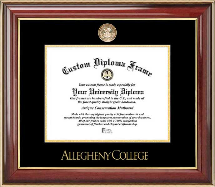 College - Allegheny College Gators - Gold Medallion - Mahogany Gold Trim - Diploma Frame
