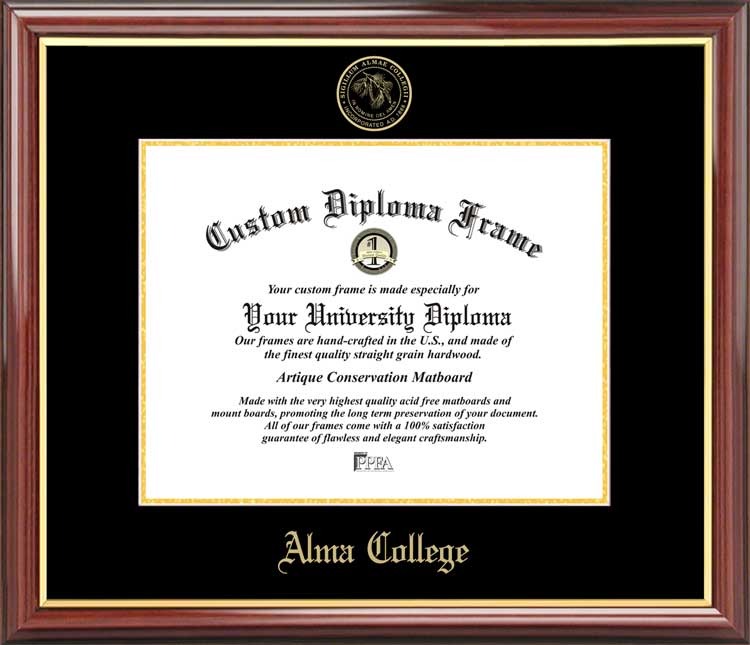 College - Alma College Scots - Embossed Seal - Mahogany Gold Trim - Diploma Frame