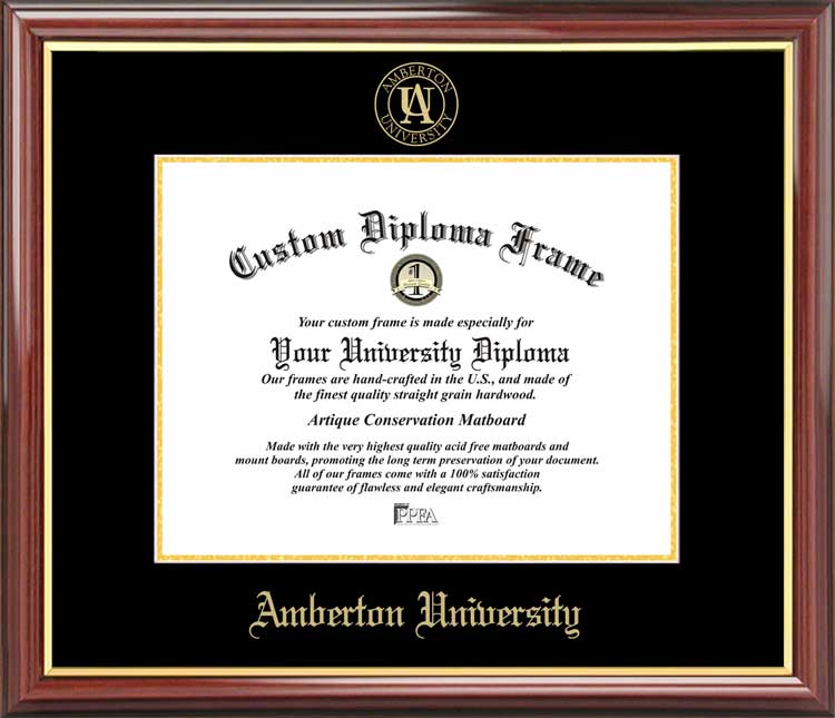 College - Amberton University  - Embossed Seal - Mahogany Gold Trim - Diploma Frame