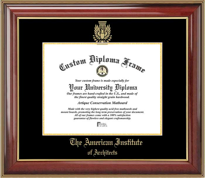 College - American Institute of Architects  - Embossed Seal - Mahogany Gold Trim - Diploma Frame