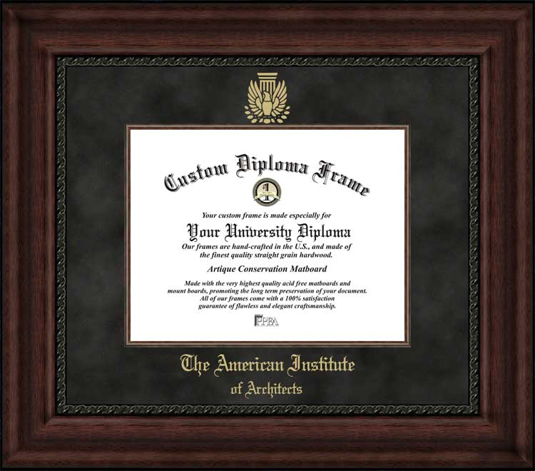 College - American Institute of Architects  - Embossed Seal - Suede Mat - Mahogany - Diploma Frame