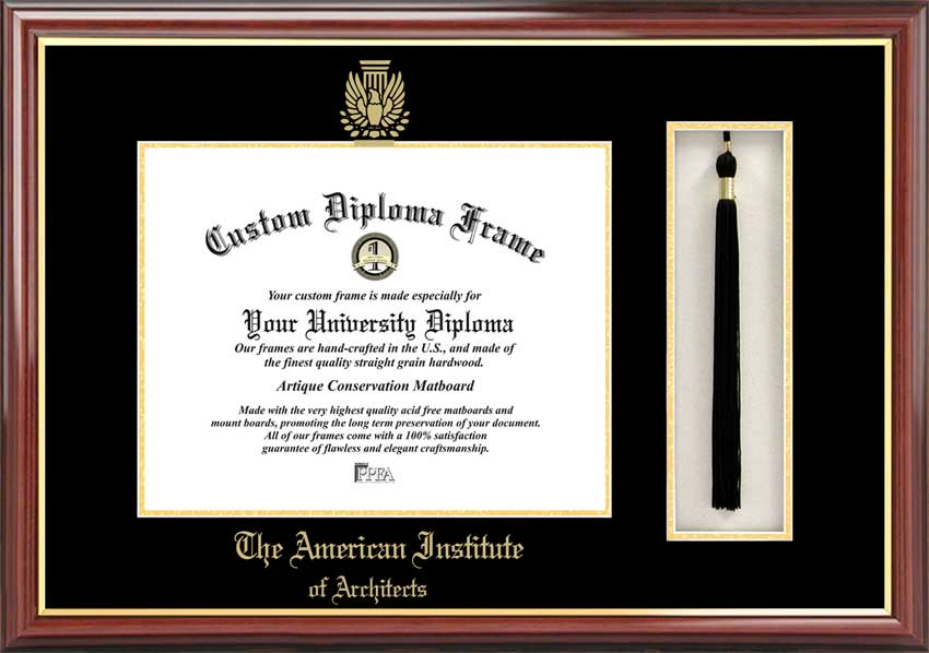 College - American Institute of Architects  - Embossed Seal - Tassel Box - Mahogany - Diploma Frame