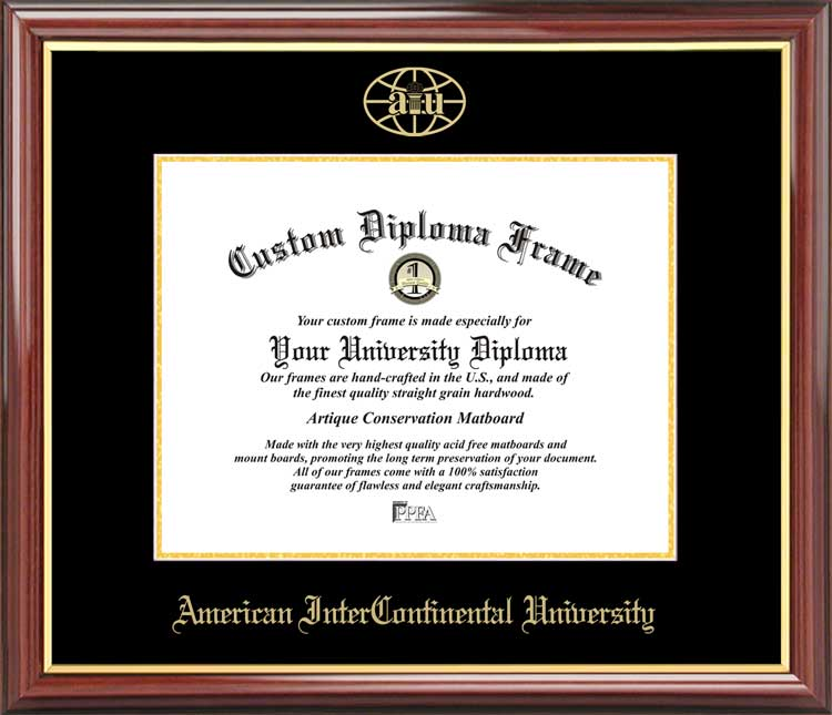 College - American InterContinental University  - Embossed Logo - Mahogany Gold Trim - Diploma Frame