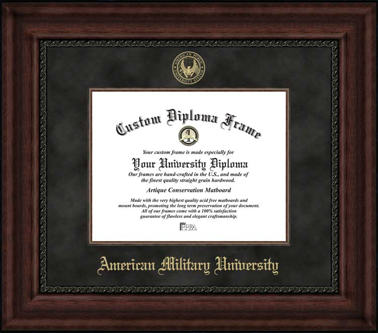 College - American Military University  - Embossed Seal - Suede Mat - Mahogany - Diploma Frame