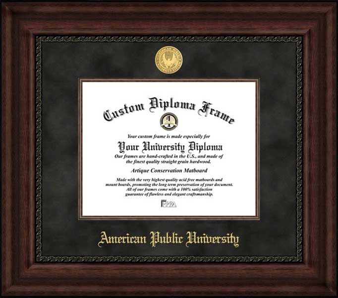 College - American Public University Volunteers - Gold Medallion - Suede Mat - Mahogany - Diploma Frame