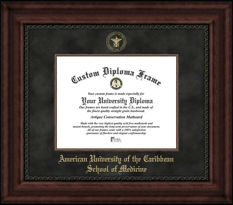 College - American University of the Caribbean School of Medicine  - Embossed Seal - Suede Mat - Mahogany - Diploma Frame