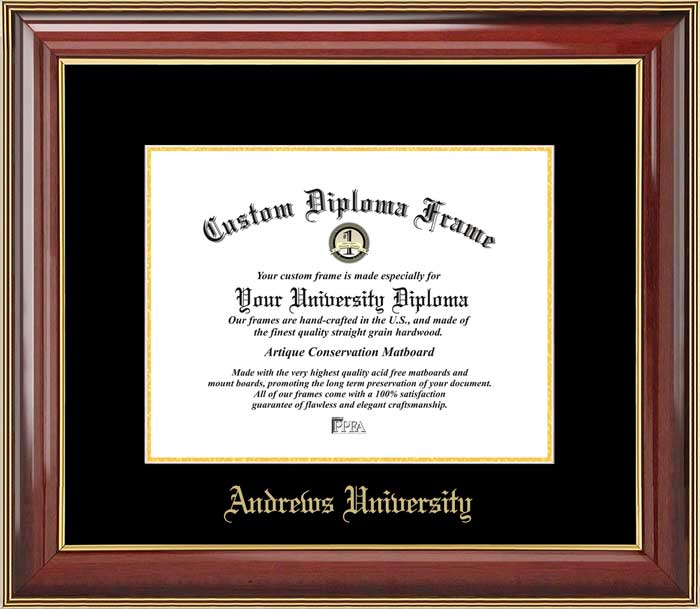 College - Andrews University Cardinals - Embossed School Name - Mahogany Gold Trim - Diploma Frame