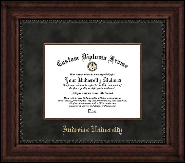 College - Andrews University Cardinals - Embossed School Name - Suede Mat - Mahogany - Diploma Frame