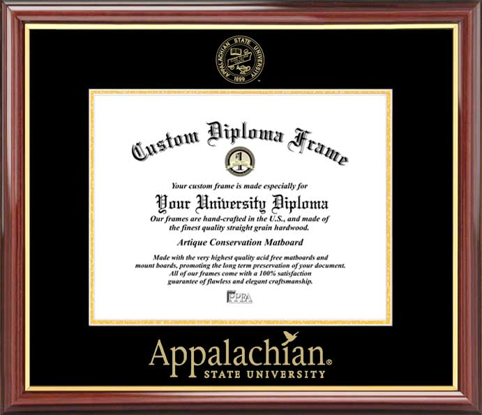 College - Appalachian State University Mountaineers - Embossed Seal - Mahogany Gold Trim - Diploma Frame
