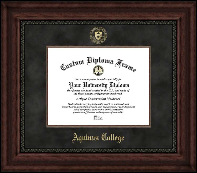 College - Aquinas College (MI) Saints - Embossed Seal - Suede Mat - Mahogany - Diploma Frame