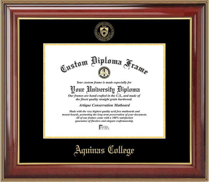 College - Aquinas College (MI) Saints - Embossed Seal - Mahogany Gold Trim - Diploma Frame