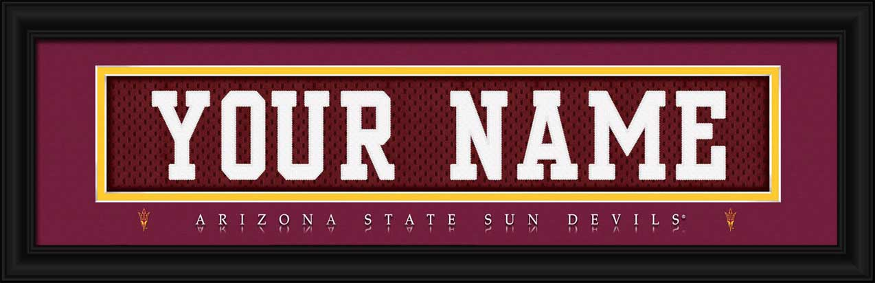 College - Arizona State Sun Devils - Personalized Jersey Nameplate - Framed Picture