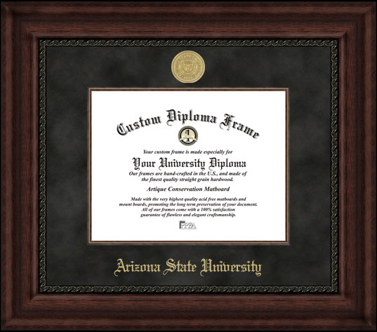 College - Arizona State University Sun Devils - Gold Medallion - Suede Mat - Mahogany - Diploma Frame