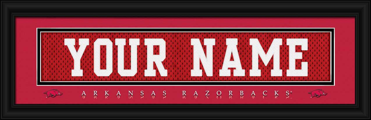 College - Arkansas Razorbacks - Personalized Jersey Nameplate - Framed Picture