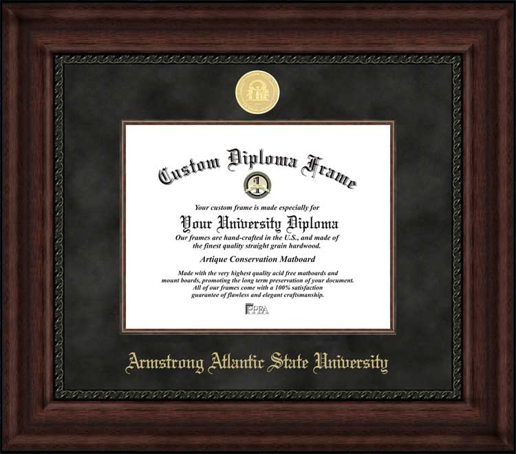 College - Armstrong Atlantic State University Pirates - Gold Medallion - Suede Mat - Mahogany - Diploma Frame