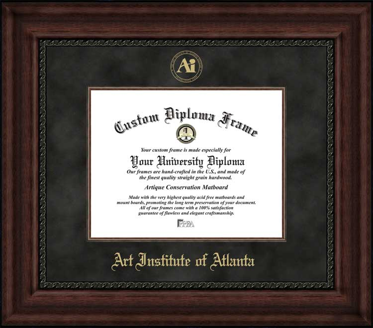 College - Art Institute of Atlanta  - Embossed Seal - Suede Mat - Mahogany - Diploma Frame