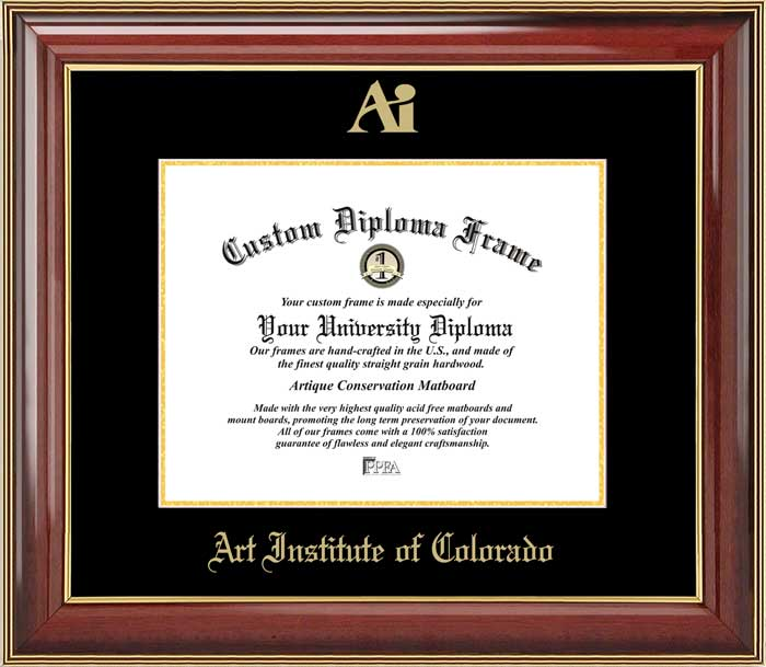 College - Art Institute of Colorado  - Embossed Logo - Mahogany Gold Trim - Diploma Frame