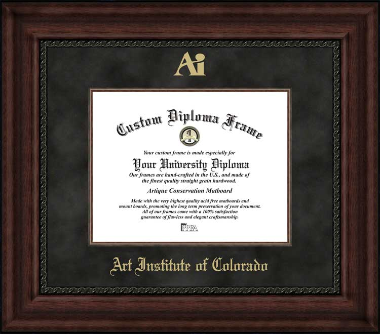 College - Art Institute of Colorado  - Embossed Logo - Suede Mat - Mahogany - Diploma Frame