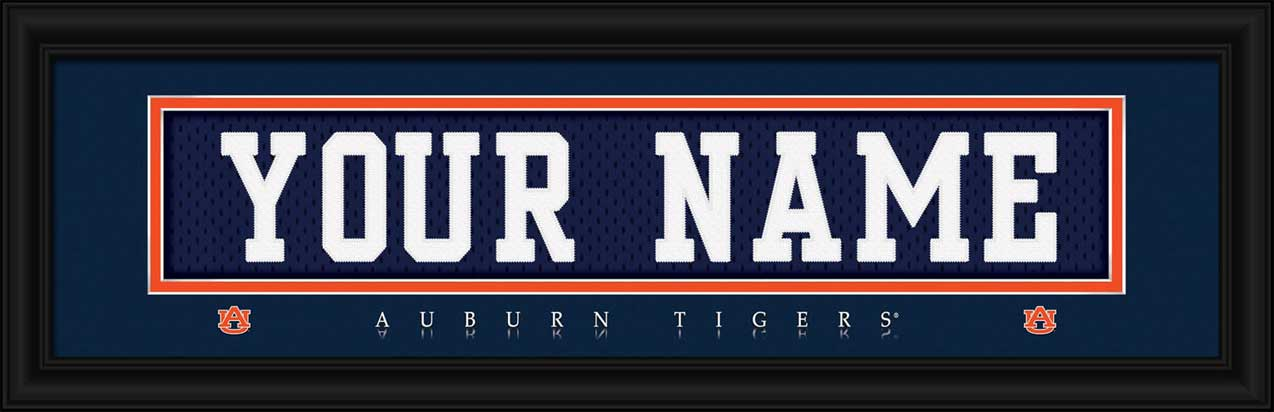 College - Auburn Tigers - Personalized Jersey Nameplate - Framed Picture