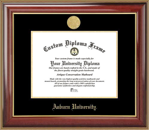 College - Auburn University Tigers - Gold Medallion - Mahogany Gold Trim - Diploma Frame