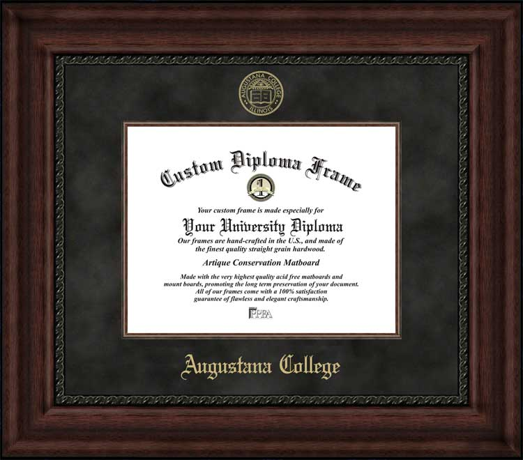 College - Augustana College (IL) Vikings - Embossed Seal - Suede Mat - Mahogany - Diploma Frame