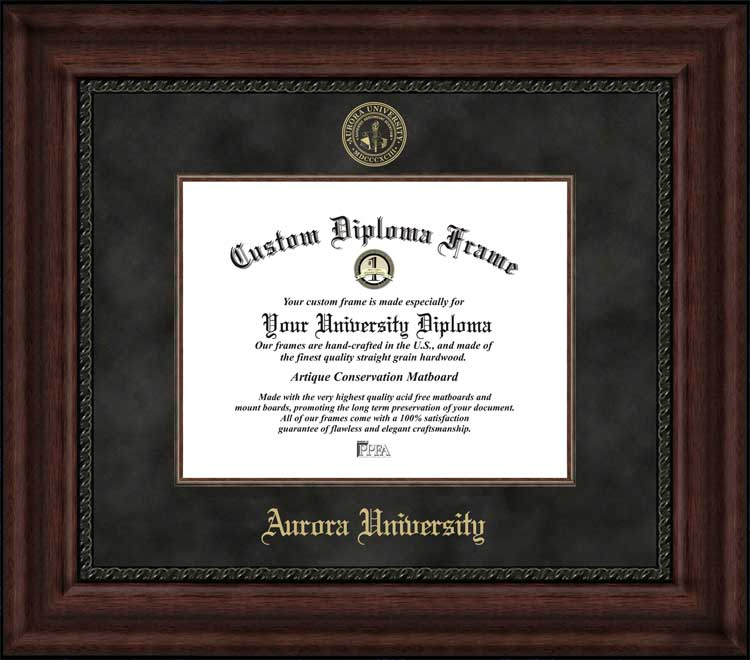 College - Aurora University Spartans - Embossed Seal - Suede Mat - Mahogany - Diploma Frame