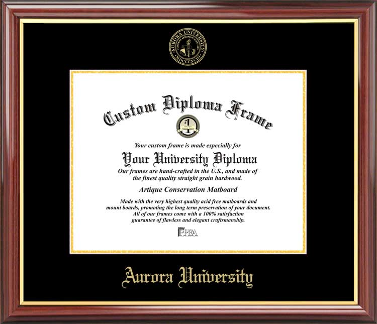 College - Aurora University Spartans - Embossed Seal - Mahogany Gold Trim - Diploma Frame