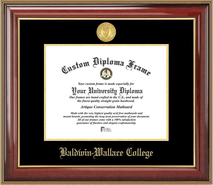 College - Baldwin Wallace College Yellow Jackets - Gold Medallion - Mahogany Gold Trim - Diploma Frame