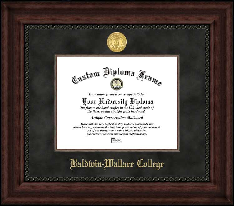 College - Baldwin Wallace College Yellow Jackets - Gold Medallion - Suede Mat - Mahogany - Diploma Frame