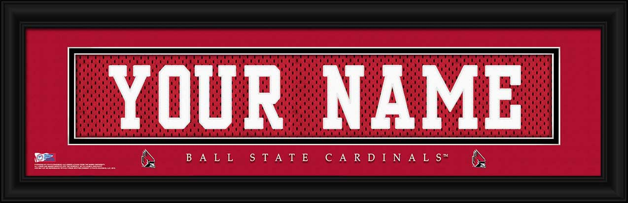 College - Ball State Cardinals - Personalized Jersey Nameplate - Framed Picture