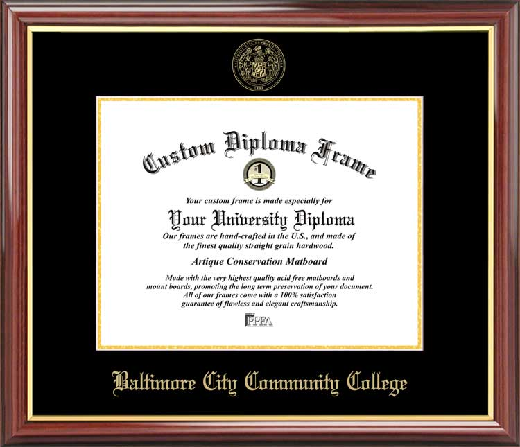 College - Baltimore City Community College  - Embossed Seal - Mahogany Gold Trim - Diploma Frame