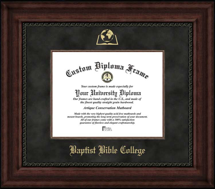 College - Baptist Bible College & Seminary (PA) Defenders - Embossed Logo - Suede Mat - Mahogany - Diploma Frame