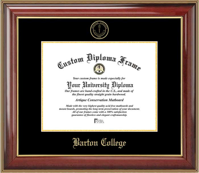 College - Barton College Bulldogs - Embossed Seal - Mahogany Gold Trim - Diploma Frame