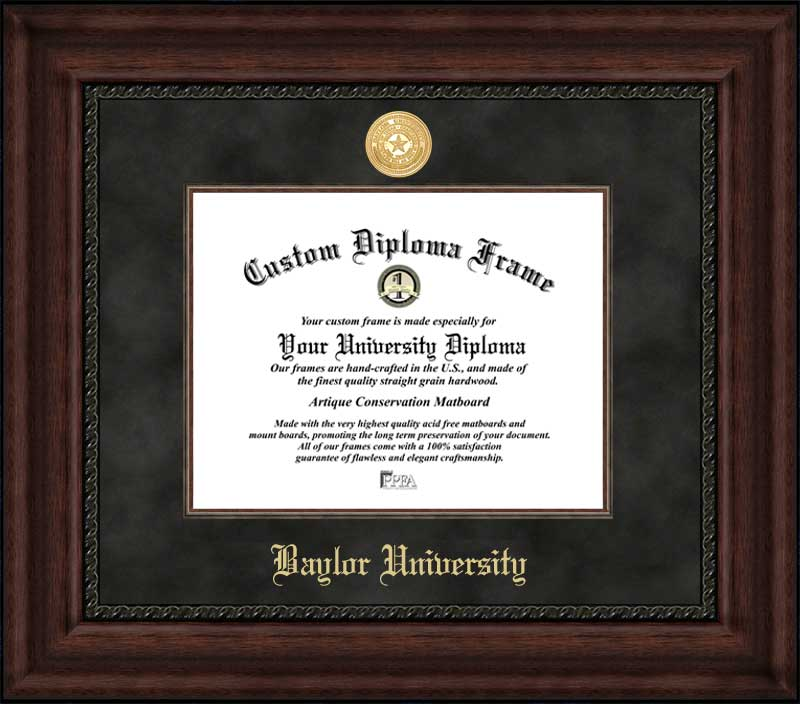 College - Baylor University Bears - Gold Medallion - Suede Mat - Mahogany - Diploma Frame