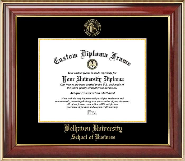 College - Belhaven University School of Business Blazers - Embossed Seal - Mahogany Gold Trim - Diploma Frame
