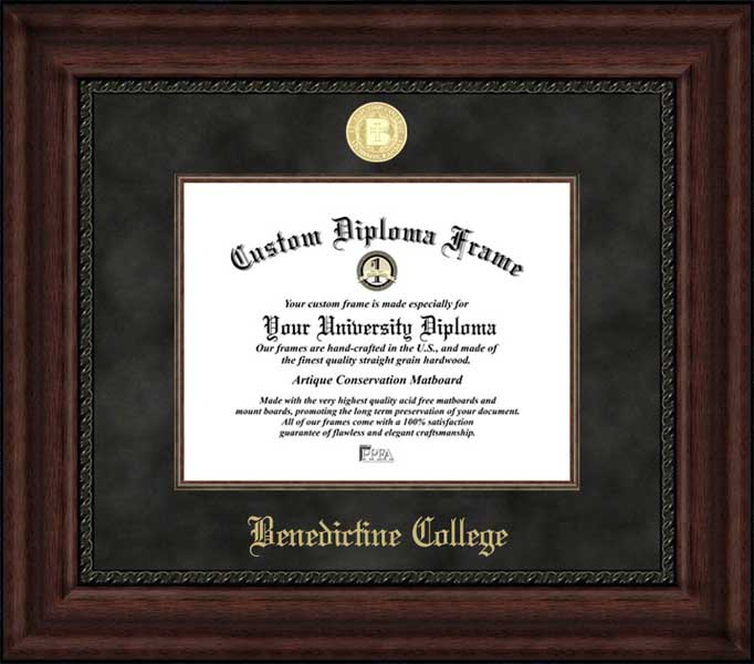 College - Benedictine College Ravens - Gold Medallion - Suede Mat - Mahogany - Diploma Frame