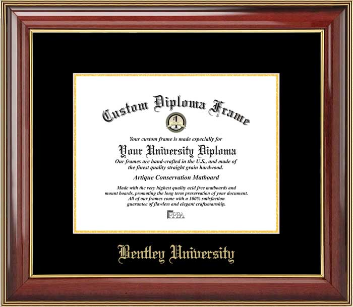 College - Bentley University Falcons - Embossed School Name - Mahogany Gold Trim - Diploma Frame