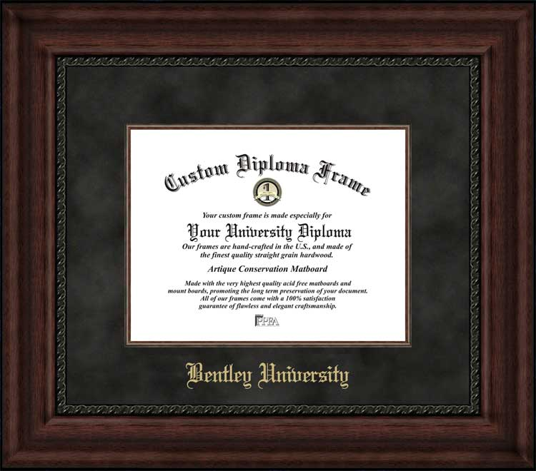 College - Bentley University Falcons - Embossed School Name - Suede Mat - Mahogany - Diploma Frame