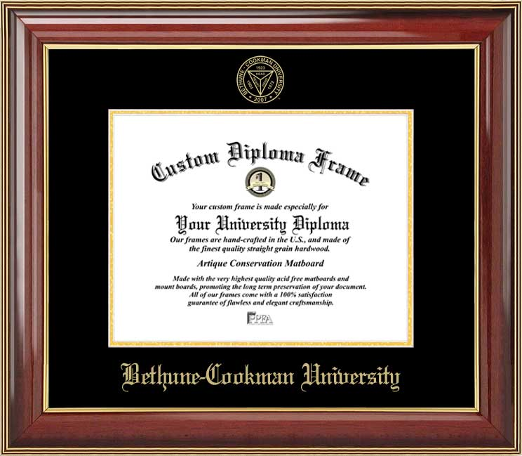 College - Bethune-Cookman University Wildcats - Embossed Seal - Mahogany Gold Trim - Diploma Frame