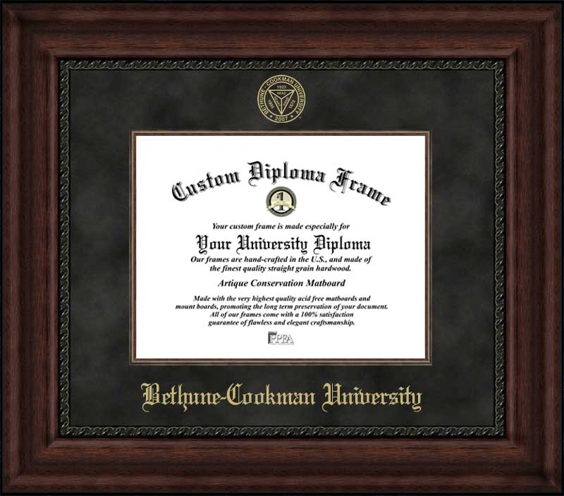 College - Bethune-Cookman University Wildcats - Embossed Seal - Suede Mat - Mahogany - Diploma Frame
